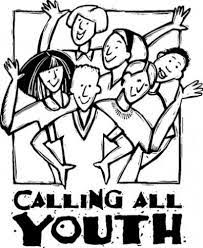 black and white cartoon picture of a group of teens, with the phrase Calling All Youth underneath them